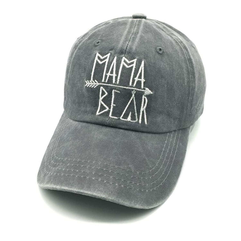 Waldeal Embroidered Mama Bear Vintage Distressed Baseball Dad Hats Adjustable Demin Cap Gift for Mom Grandma Gray