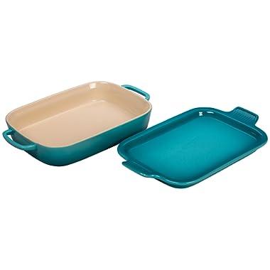 Le Creuset Stoneware Rectangular Dish with Platter Lid, 14 3/4  x 9  x 2 1/2 , Caribbean