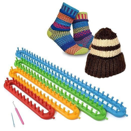 Soledš¬- Kit para tejer, aguja de tejer, para hacer calcetines, gorros, mantones, capas, bufandas, multiusos, telar de plš¢stico: Amazon.es: Hogar