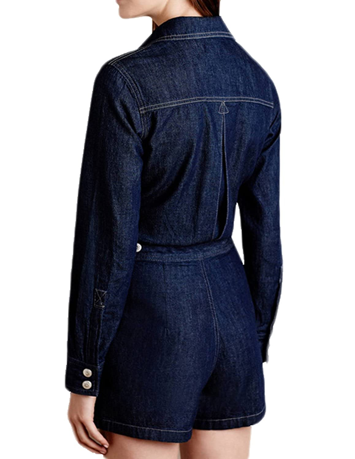 7f11a69b794 Amazon.com  HaoDuoYi Womens Long Sleeve Denim Jeans Jumpsuit Romper With  Pockets  Clothing