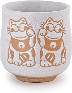 """Hinomaru Collection Japanese Style Auspicious Design Sushi Yunomi Porcelain Tea Cups 10 fl oz Home Use or Restaurant Supply Teacups 3.75""""H Made in Japan (Twin Lucky Cats)"""