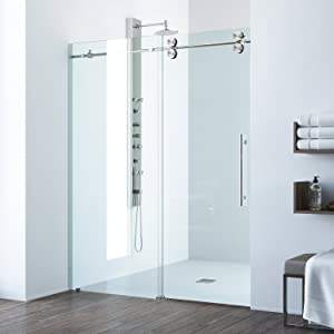 "VIGO VG6041STCL687464 - 68 Inch Sliding Frameless Shower Door with 3/8"" Clear Glass and 304 Stainless Steel Hardware, in Stainless Steel Finish"