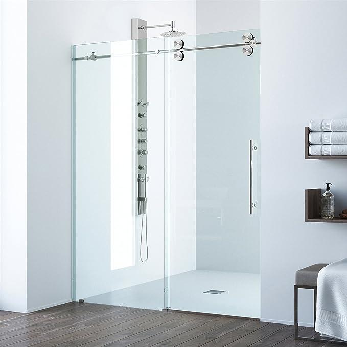 VIGO Elan 68 to 72-in. Frameless Sliding Shower Door with .375-in ...