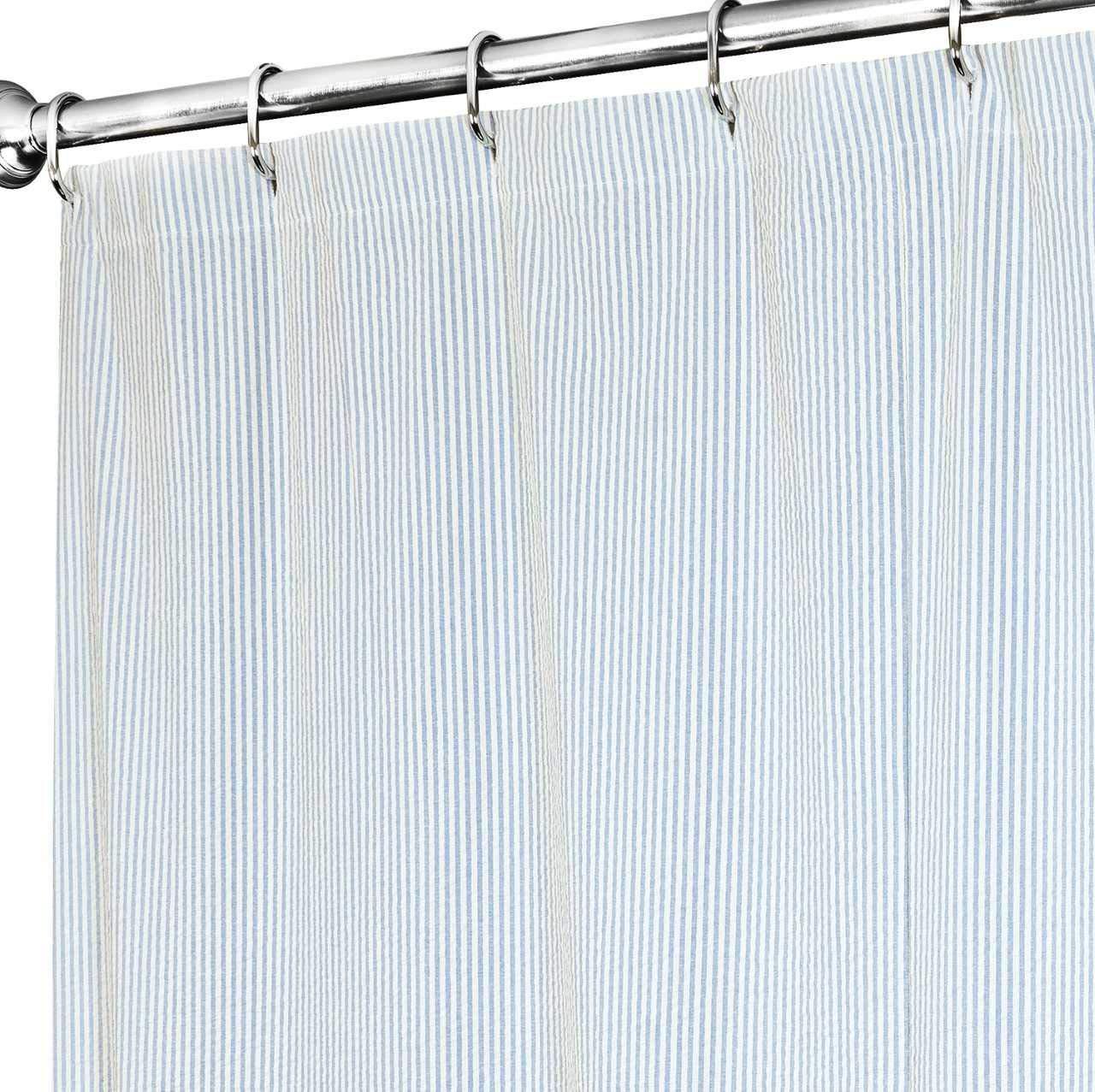 Extra Long Shower Curtain 72 x 84 Inch Shower Curtains for Bathroom Decor- Fabric Shower Curtain Blue Striped Seersucker Beach Shower Curtain for Beach House Decor