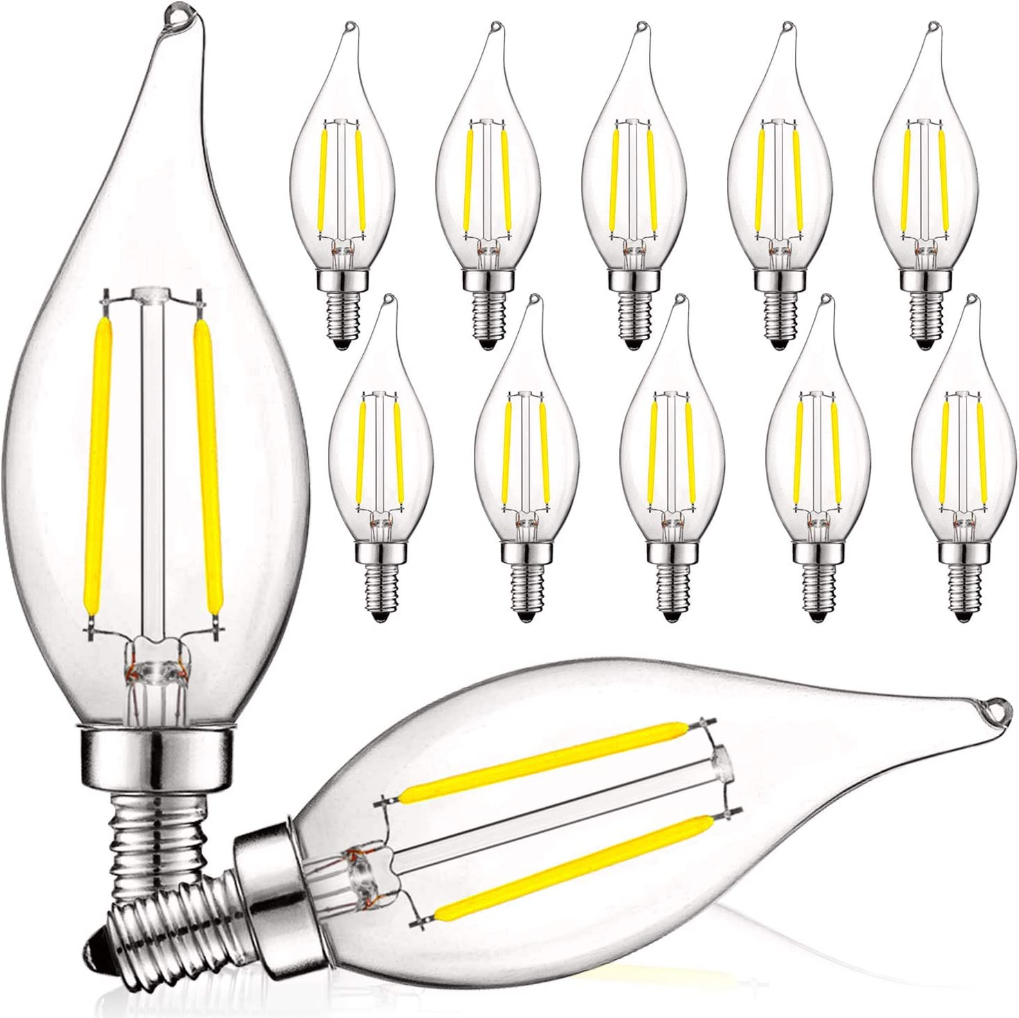 Luxrite 4W Vintage Candelabra LED Bulbs Dimmable, 400 Lumens, 5000K Bright White, LED Chandelier Light Bulbs 40W Equivalent, Flame Clear Glass, Filament LED Candle Bulb, UL Listed, E12 Base (12 Pack) - -