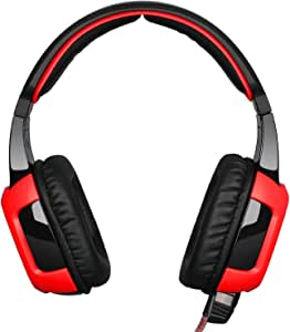 SADES SA906 7.1 USB Surround Sound Stereo Over-the-Ear Gaming Headsets with Microphone Vibration Noise Reduction LED Light for PC gamers (Red-Black)