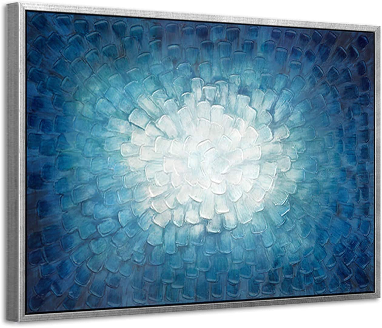 ARTISTIC PATH 3D Teal Abstract Painting Framed: Navy Textured Picture Artwork in Gradient Color Modern Canvas Wall Art (36