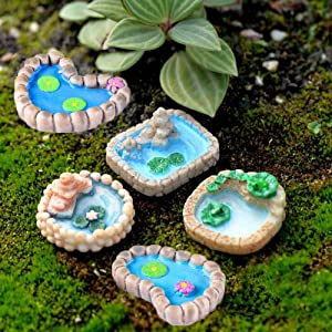 Trasfit 5 Pieces Fairy Garden Miniature Pond Ornaments Kit for Miniature Garden Accessories, Home Micro Landscape Decoration