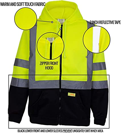 Orange Small Model# SJ041 Work King Safety Men/'s Class 2 High Visibility Hoodie