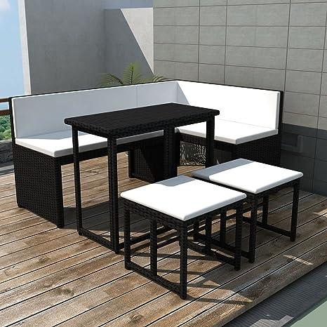 Tidyard Conjunto Muebles de Jardín de Ratán 12 Piezas con ...
