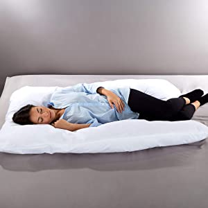 Lavish Home AM901064 7 in 1 Full Body Pillow with Removable Cover, Comfortable U-Shape, Jumbo