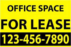 """BANNER BUZZ MAKE IT VISIBLE Office Space for Lease Vinyl Banner 11 oz with Metal Grommets & Hemmed Edges for Decoration, Business, Outdoor, Events, Office (36"""" X 15"""")"""