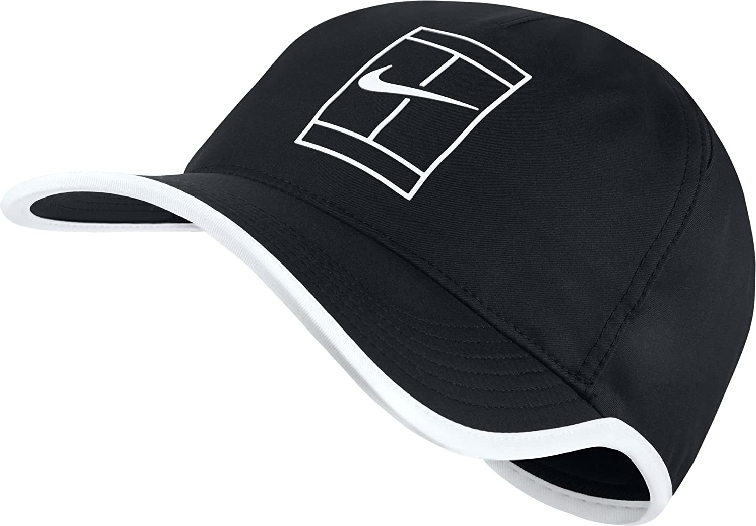 bf8995e720db3 Amazon.com  Nike Mens Featherlite Aerobill Court Tennis Hat Black White  864105-011  Sports   Outdoors