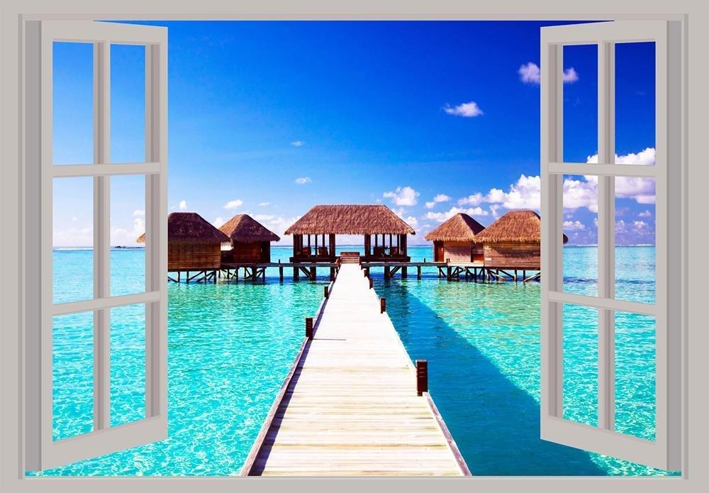 Caseta de Playa Vista de Ventana Scenery Póster de A2 23 in x 16,5 en: Amazon.es: Hogar