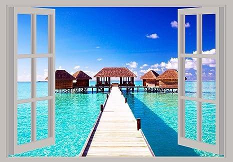 Caseta de Playa Vista de Ventana Scenery Póster de A2 23 in x 16,5