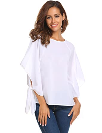f3b6bd7deb Zeagoo Women Casual Long Bow Tie Sleeves White Chiffon Blouse Boat Neck Tops