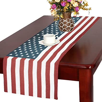 InterestPrint Memorial Day 4th Of July Cotton Table Runner Placemat 16 X 72  Inch, Vintage