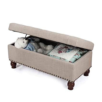 Adeco Fabric Sturdy Design Rectangular Tufted Lift Top Storage Ottoman  Bench Footstool With Solid Wood Legs