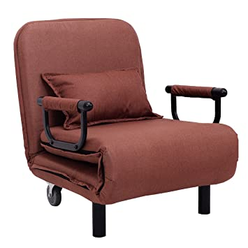 Giantex 26.6u0026quot; Convertible Sofa Bed Folding Arm Chair Sleeper Leisure  Recliner Lounge Couch (Coffee