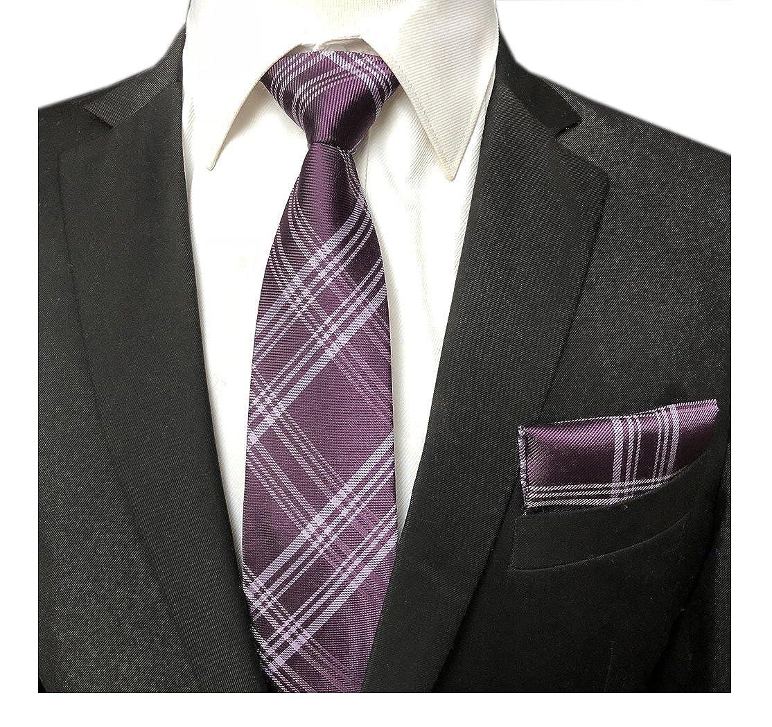 Elfeves Mens Trendy Scottish Tartan Ties Set Checks Neckties with Pocket Square