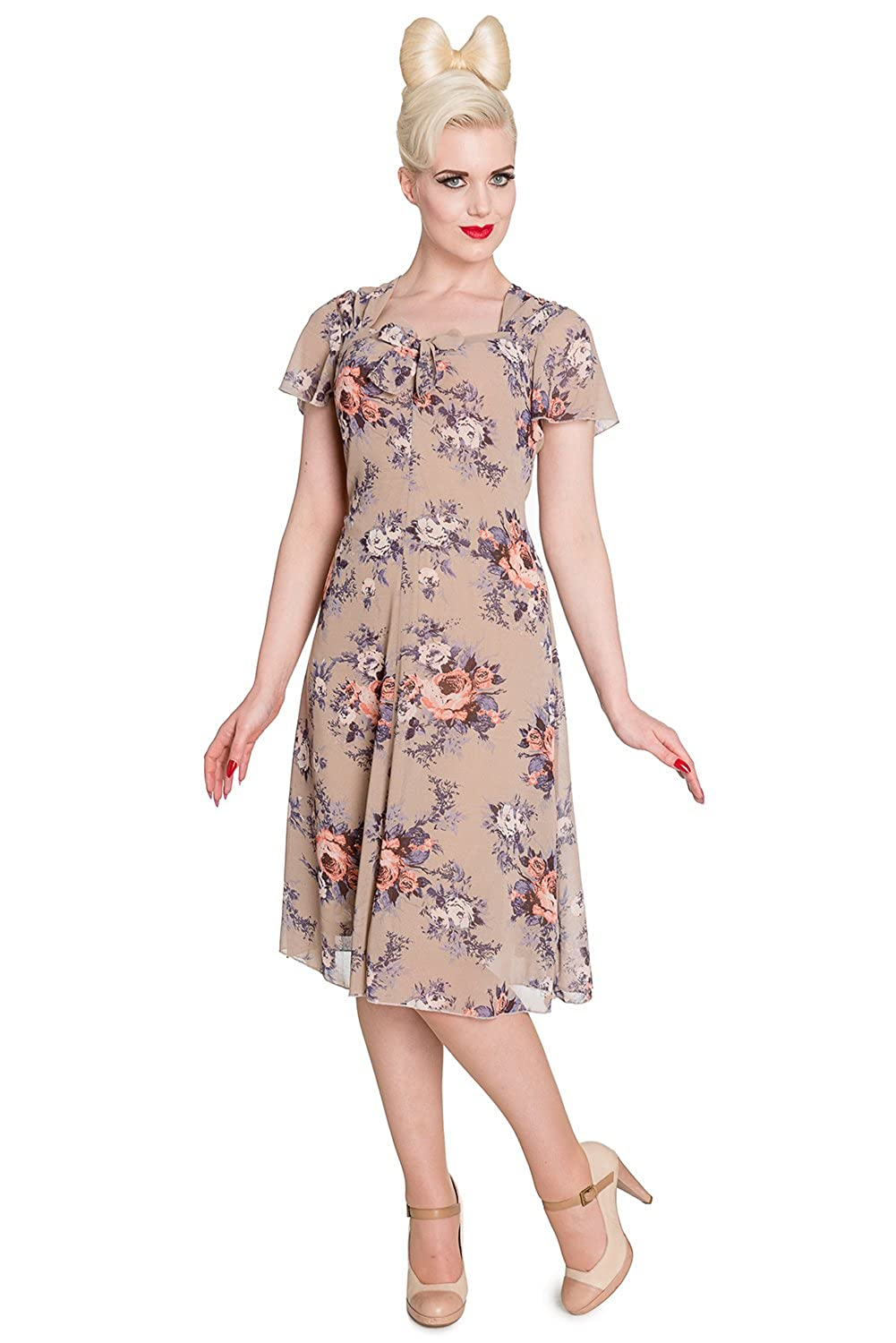 1950s Fashion Dresses:  Floral, Tropical, Tiki, Hawaiian Hell Bunny Holly 40s 50s Vintage Tea Party Dress Regular & Plus Size $36.99 AT vintagedancer.com