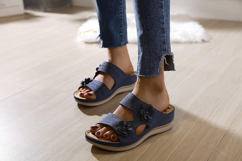 Zuecos de Mujer Zapatos Casuales Suaves y Bajos Cu/ñas Bajas Zapatos c/ómodos para Caminar Zuecos Especialistas cl/ásicos Slip on Sandalias de Verano Zapatillas