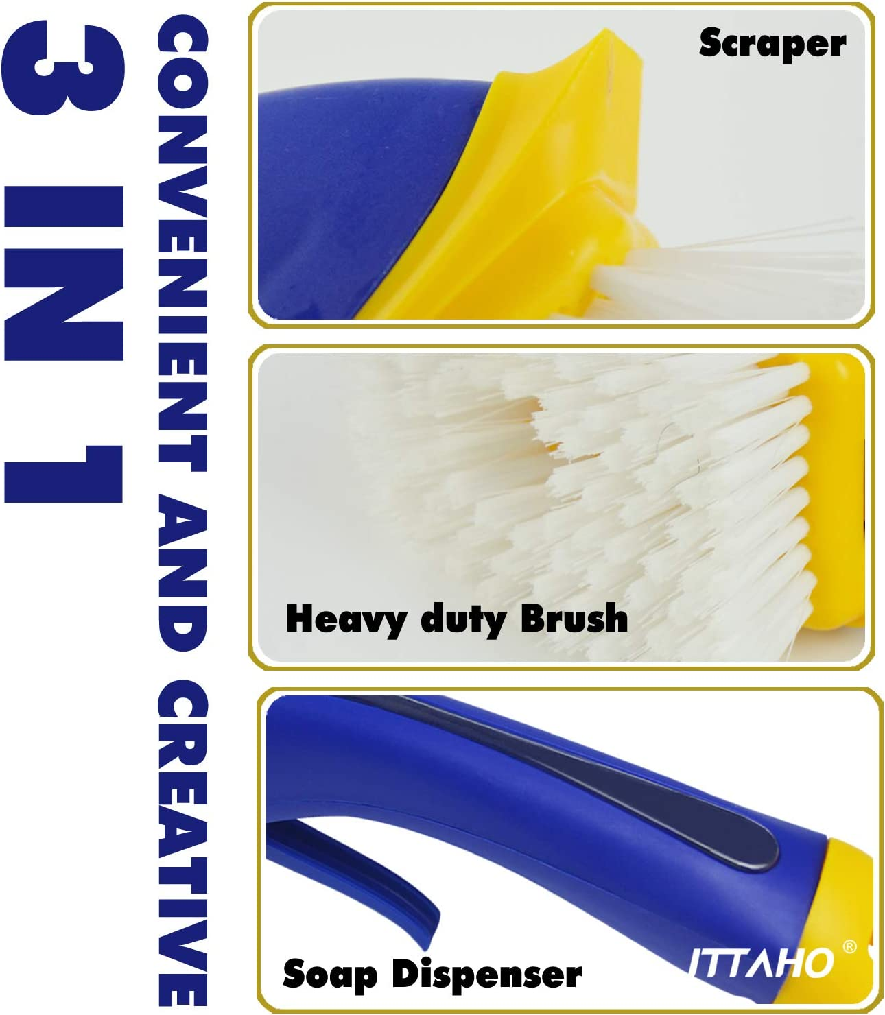 ITTAHO 3-In-1 Heavy Duty Scrub Brush with Soap Dispenser,Large-Size Grout and Tile Brush,Floor Scrub Brush,Tub Scrubber Cleaning Brush for Walls,Shower,Tile,Bathroom,Kitchen,Countertop and Grill Clean