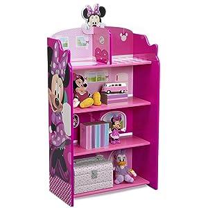 Delta Children Wooden Playhouse 4-Shelf Bookcase for Kids, Minnie Mouse