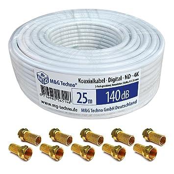 Cable coaxial SAT 25 m, 140 dB Cable de antena kb3 con conectores F oro