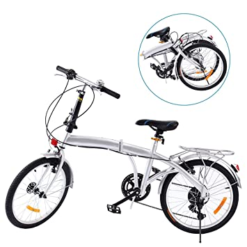 Ridgeyard Bicicleta Plegable 20 Pulgadas de 6 velocidades Bici Plegable Folding Bike Bicycle Shimano (Plata