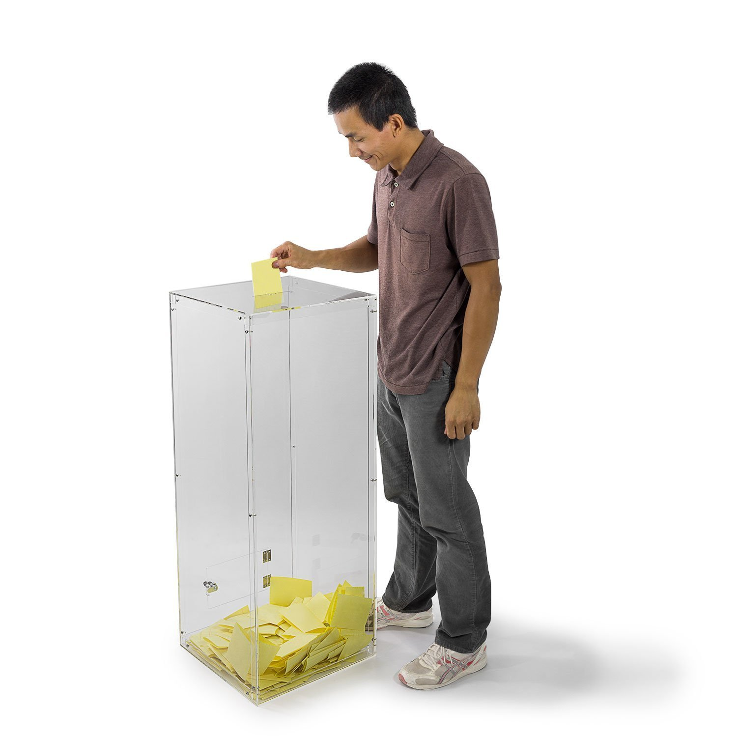 Source One Donation Box Clear Acrylic Ballot / Suggestion Box for Floor 40 Inches / Over 3 Foot Tall