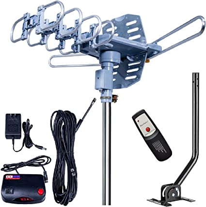 150miles TV Antenna Amplified Outdoor HD 1080P Digital Signal UHF VHF with Pole