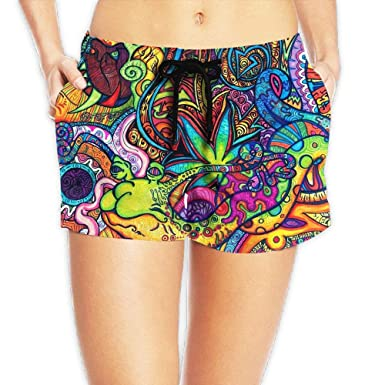 c96f9ca643 Lady Psychedelic Trippy Art Tropical Volley Beach Shorts Board Shorts Pants