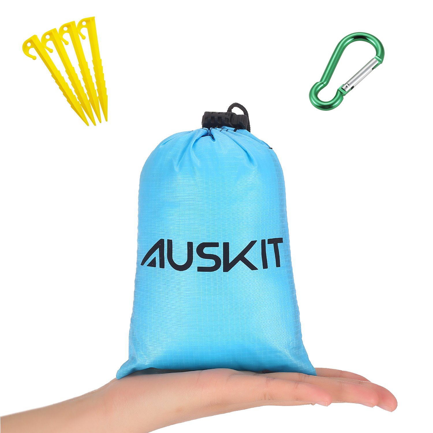 Outdoor Picnic Beach Blanket with Stakes, Waterproof Camping Trap for Beach ,Camping,,Traveling and Hiking,Pocket blanket with Corner Pockets, Loops and Bag