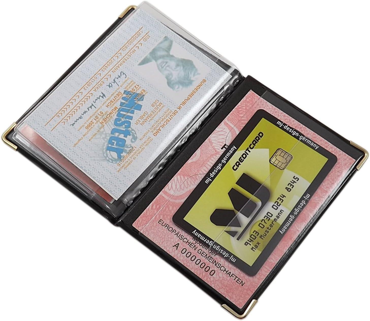 Cuir de vachette pochette de carte didentit/é MJ-Design-Germany en noir