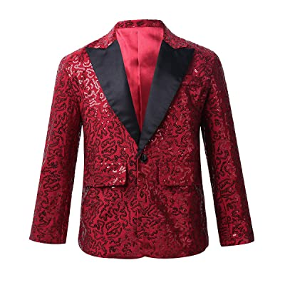 ACSUSS Kids Boys Shiny Sequins Suit Jacket Blazer One Button Formal Tuxedo fot Wedding Pageant Birthday Party: Clothing
