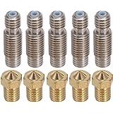 PChero 5pcs V6 0,4mm Messing Düse + 5pcs V6 22mm Edelstahl Düsenhals mit Teflon Tube für 3D Drucker V5&V6 1,75mm J-Kopf Hotend