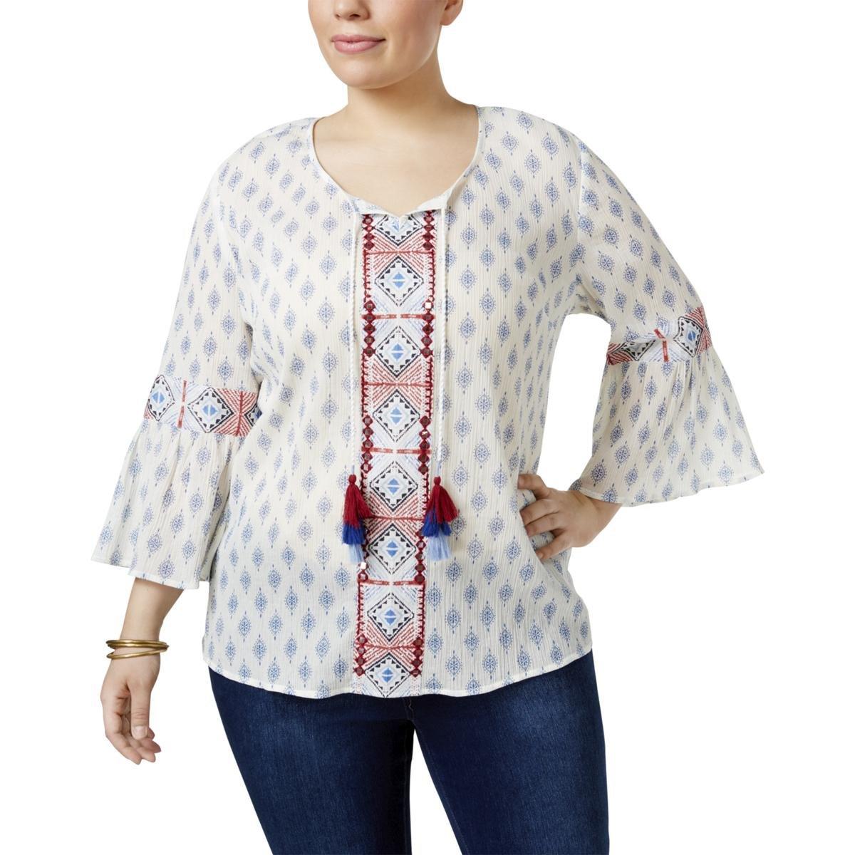 Style & Co. Womens Plus Keyhole Printed Blouse White 2X