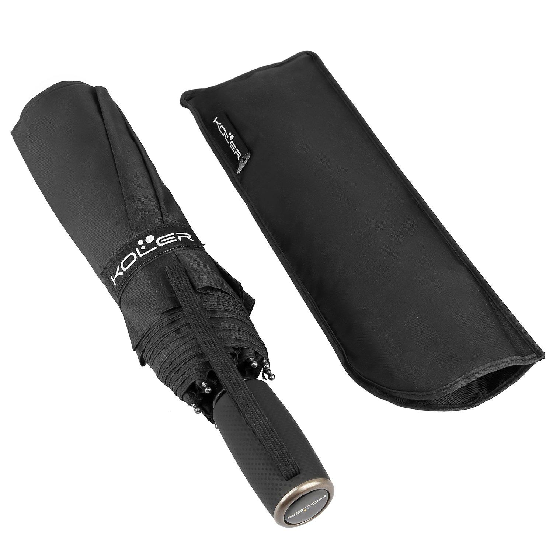 KOLER Travel Umbrella Windproof Auto Open Close Folding Umbrella 9 Ribs – Black