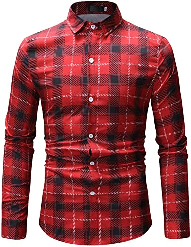 Alelife Clothing Gift for Men Mens Casual Fashion Long Sleeved Shirt Single Pocket Plaid Printing Shirt Tops