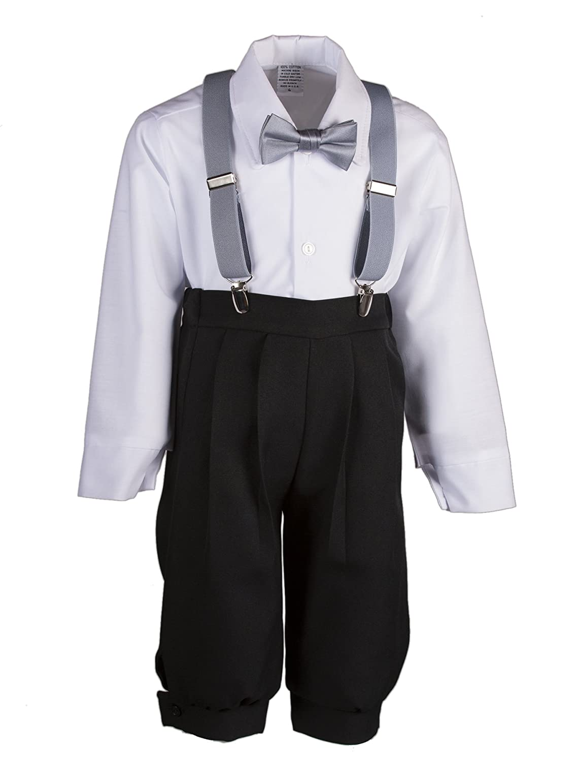 Tuxgear Boys Black Knickers Outfit Pageboy Cap with Suspenders /& Bow Tie