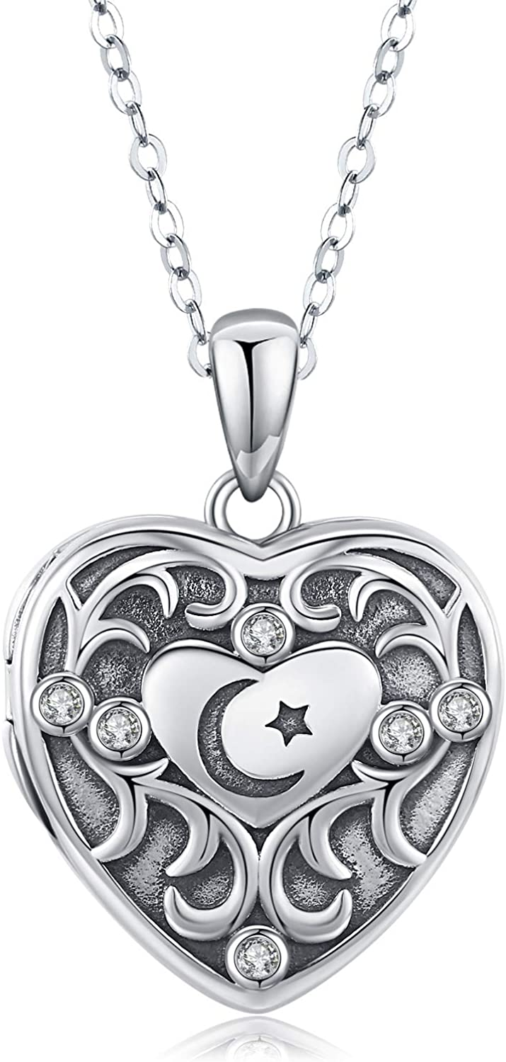 Waysles Love Heart Locket Necklace That Holds Pictures Sterling Silver Photo Lockets Cubic Zirconia Pendant Jewelry Gift for Birthday//Graduation//Anniversary Day//Friendship