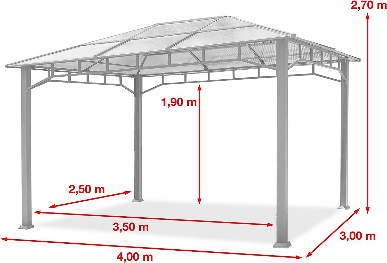 Cenador de Jardín 3x4 m Marco de Aluminio Aprox. 8mm Policarbonato Techo Gazebo de Jardín sin Cortinas Laterales