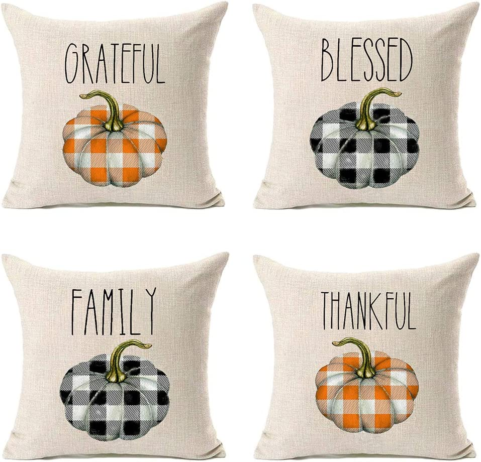 MFGNEH Grateful Blessed Family Thankful Fall Pillow Covers 18x18 Set of 4,Fall Decorations Buffalo Check Plaid Pumpkins Farmhouse Throw Pillow Case Cushion Cover,Thanksgiving Decorations,Fall Decor