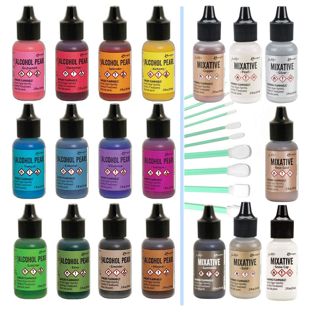 Ranger Tim Holtz Alcohol Pearls Complete Set Bundle (All 12 Colors), Ranger Tim Holtz Alcohol Ink Mixatives (All 7 Colors), 10 Pixiss Precision Ink Blending Tools by GrandProducts