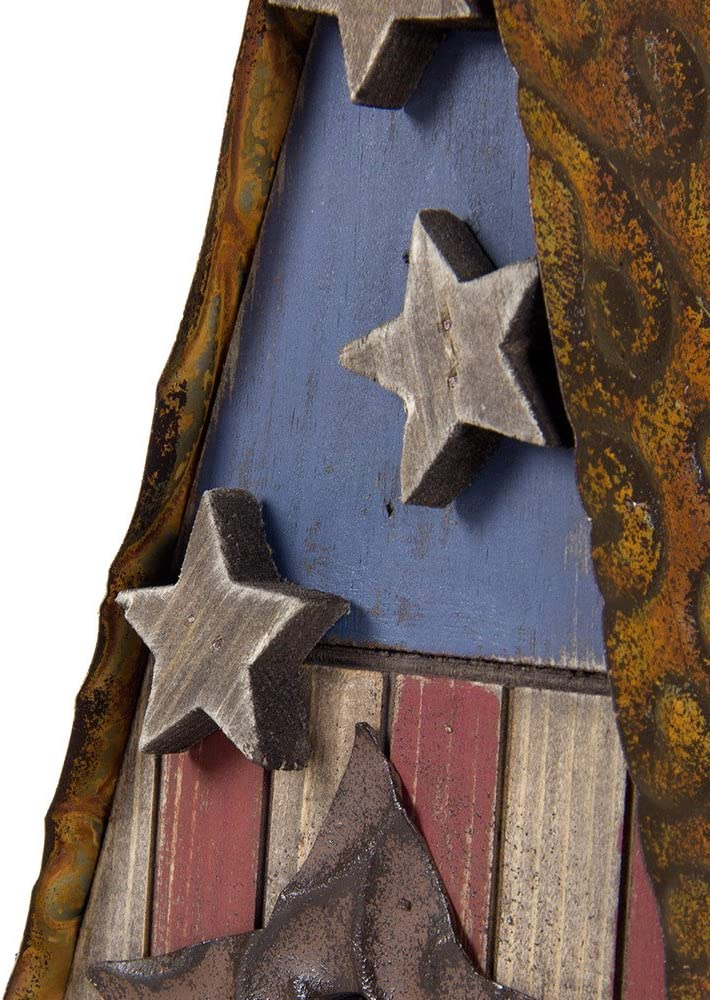 10.04 Glitzhome USA Patriotic Hand Painted Wood Birdhouse Single Roof