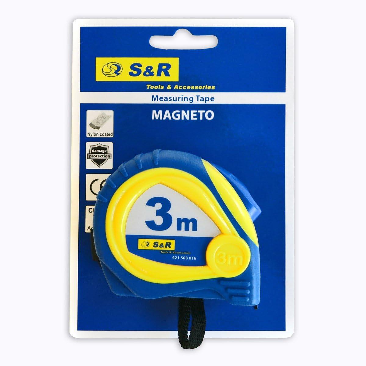 MUS S/&R Bandmaß 3,0 m x 16mm Nylon beschichtet gummiert schlagfestes Gehäuse