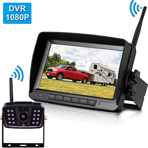 Amtifo FHD 1080P Digital Wireless Backup Camera With 7 DVR Monitor Support Split Quard Screen For Pickups,Trucks,Trailers,RV,5th Wheels High-Speed Observation System,Guide Lines ON Off