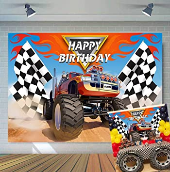 Amazon Com Tj 5x3ft Monster Truck Theme Photography Backdrops Baby Shower Boy Happy Birthday Party Decor Banner Grave Digger Speed Photo Background Studio Booth Props Vinyl Camera Photo