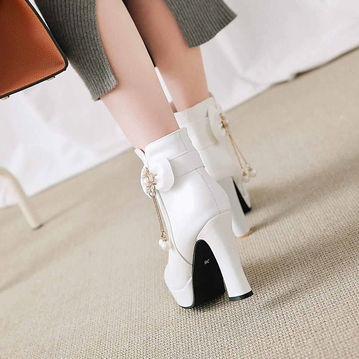 Hy 2018 Damenschuhe Herbst Winter Strass Martins Stiefel Damen Strass Winter Bowknot Super High Heel Stiefelies Stiefeletten Mode Stiefel Weiß Schwarz Rosa (Farbe   Weiß Größe   35) 1fa20b
